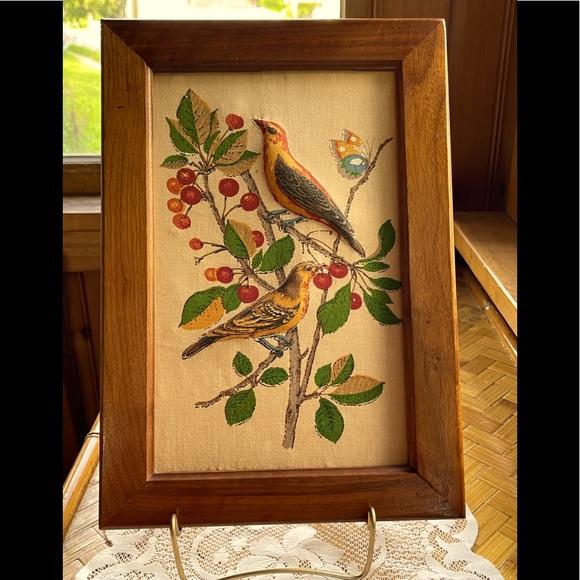 Framed vintage fabric bird print, unique!